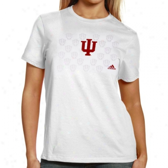 Indiana Hoosiers Tees : Adidas Indiana Hoosiers Ladies White Inside The Lines Tees