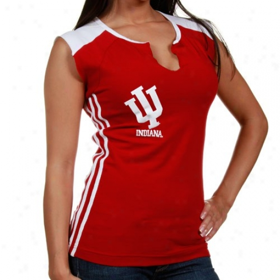 Indiana Hoosiers Tshirts : Adidas Indiana Hoosiers Ladies Crimson Slit Neck Tshirts