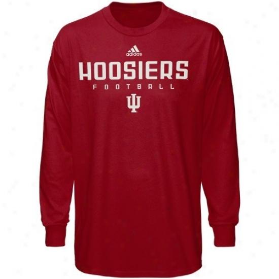 Indiana Hoosiers Tshirts : Adidas Indiana Hoosiers Preschool Crimson Sideline Long Sleeve Tshirts