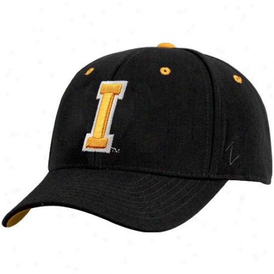 Iowa Hats : Zephyr Iowa Youth Black Logo Z-fit Flex Fit Hats