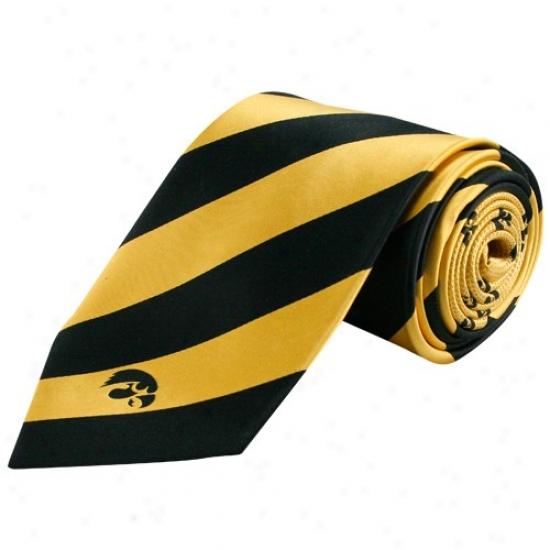 Iowa Hawkeyes Black-gold Repeat Stripe Silk Tie