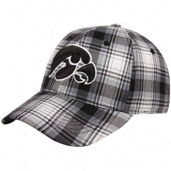 Iowa Hawkeyes Hat : Top Of The World Iowa Hawkeyes Black-white Plaid Premium 1-fit Flex Hat
