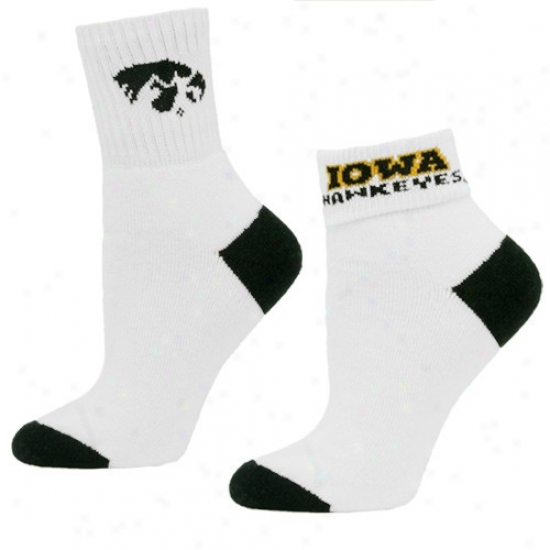 Iowa Hawkeyes Ladies White Roll Down Socks