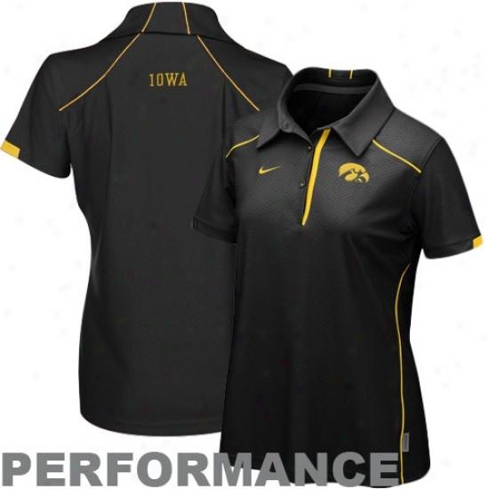 Iowa Hawkeyes Polo : Nike Iow Hawkeyes Ladies Black Kick Off Performance Polo