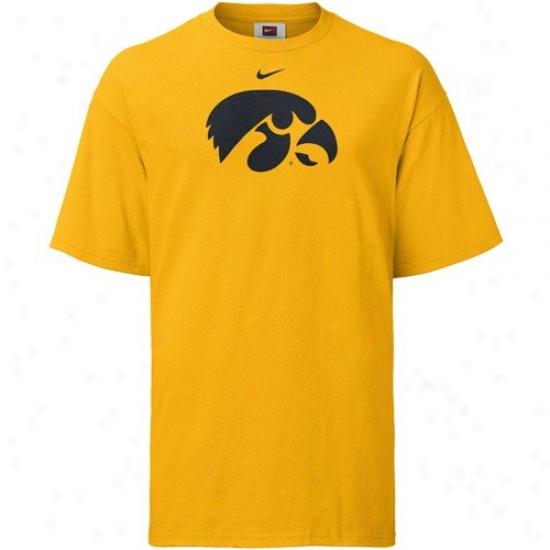 Iowa Hawkeyes Shirt : Nike Iowa Hawkeyes Gold Classic Logo Shirt