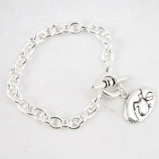 Iowa Hawkeyes Silver Tone Chain Logo Bracelet