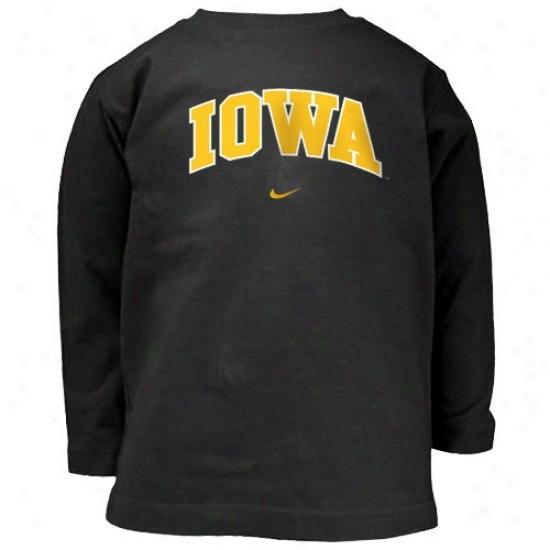 Iowa Hawkeyes Tshirt : Nike Iowa Hawkeyes Black Toddler First-rate College Long Sleeve Tshirt