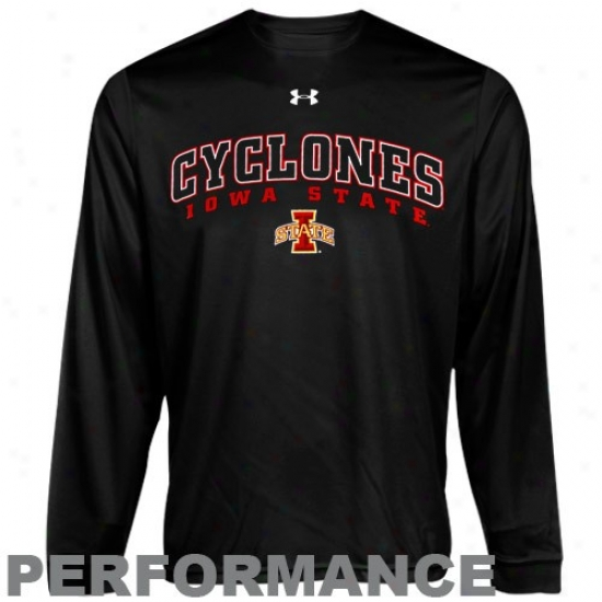 Iowa State Cyclones Apparel: Under Armour Iowa State Cyclones Black Heatgear Training Performance Long Sleeve T-shirt