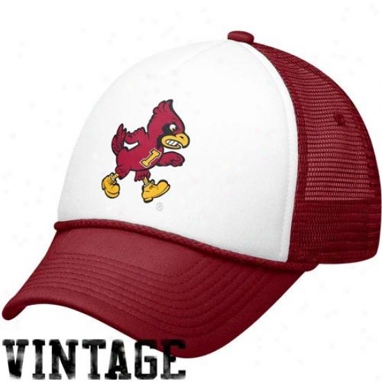 Iowa State Cyclones Caps : Nike Iowa State Cyclones White-cardinal Vault Mesh Adjustable Trucker Caps