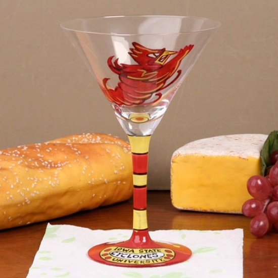 Iowa State Cyclones Hand Painted 8.5oz. Martini Glass