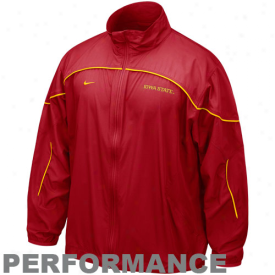 Iowa Staet Cyclones Jacket : Nike Iowa State Cyclones Red Run Blitz Full Zip Performance Jacket