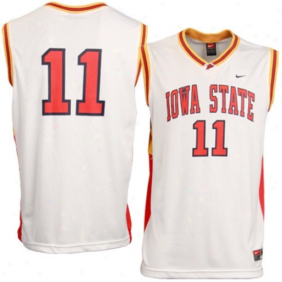 Iowa S5ate Cyclones Jersey : Nike Iowa State Cyclones #11 Youth White Replica Basketball Jersey