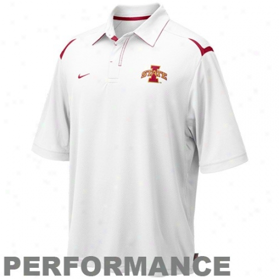 Iowa State Cyclones Polos : Nike Iowa State Cyclones White Silent Count Dri-fit Performance Polos