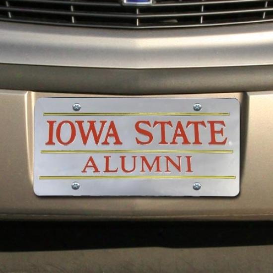 Ilwa State Cyclones Silver Mirrored Alumni License Plate