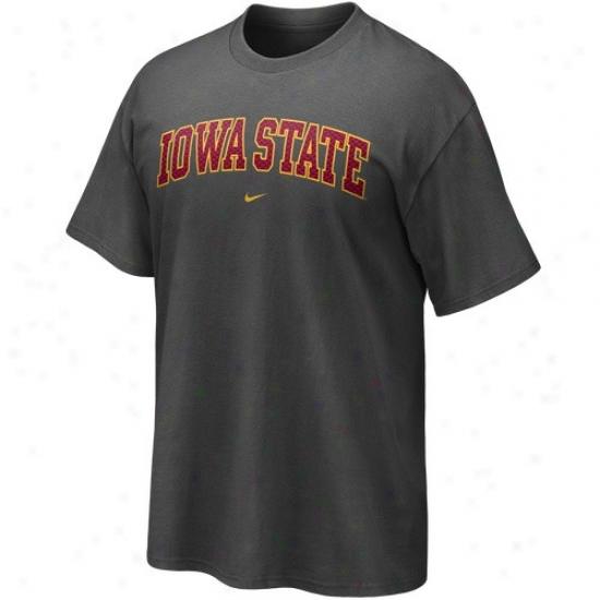 Iowa State Cyclones T Shirt : Nike Iowa National Cyclones Charcoal Seasonal Arch T Shirt
