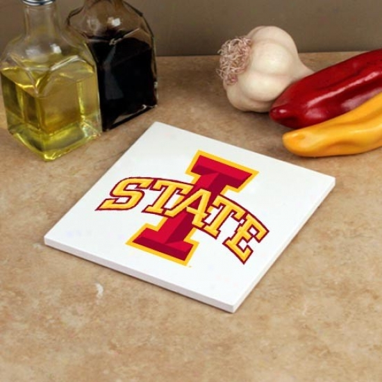 Iowa Condition Cyclones White 5.75'' Square Absorbent Stone Trivet