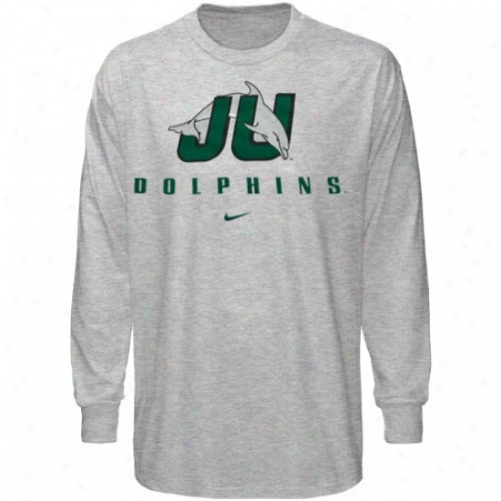Ju Dolphins Tees : Nike Jacksonville University Dolphins Ash Stacked Lettering Long Sleeve T3es