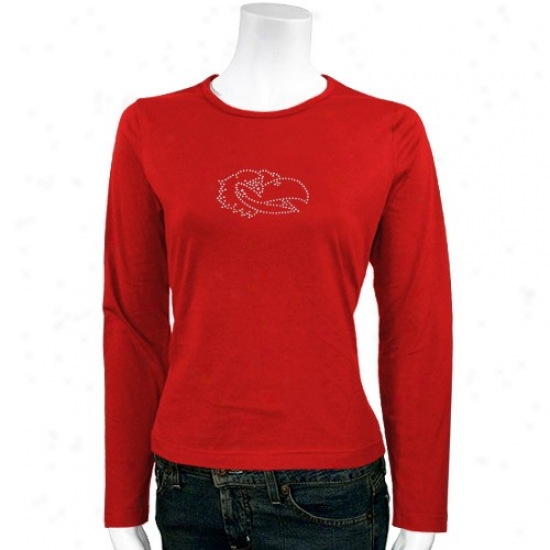 Kansas Jayhawks Apparel: Kansas Jayhawks Ladies Crimson Rhinestone Logo Lingering Sleeve T-shirt