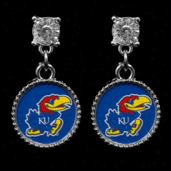 Kansas Jayhawks Crystal Stud Dangle Earrings