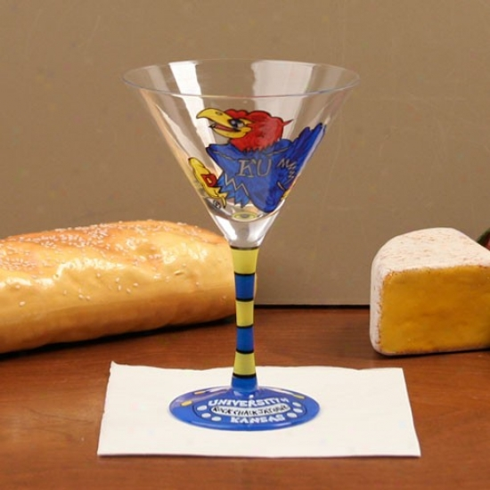 Kansas Jayhawks Hand Painted 8.5iz. Martini Glass