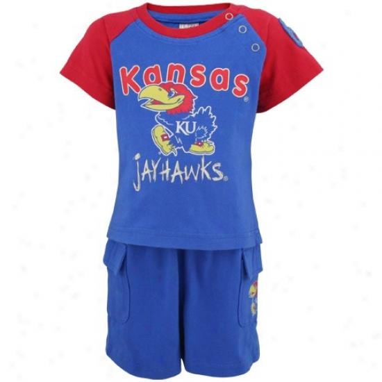 Kansas Jayhawks Infany Royal Blue Clubhouse Tee And Short Set