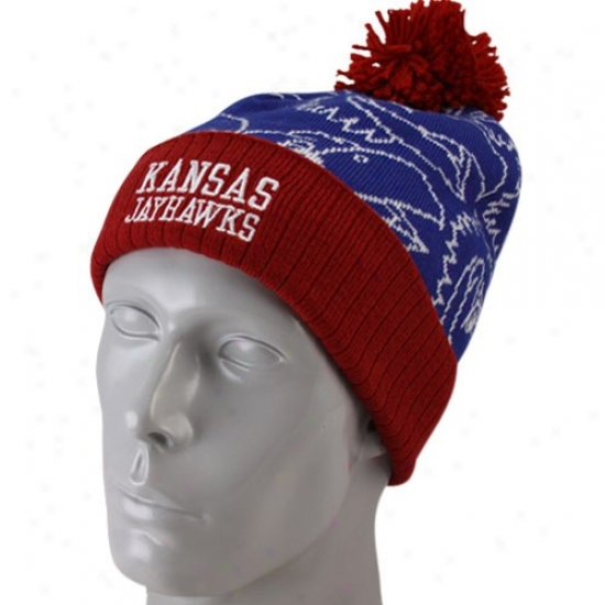 Kansas Jayhawks Merchandise: Adidas Kansas Jayhawks Youth Royal Blue-crimson Cuffed Knit Beanie