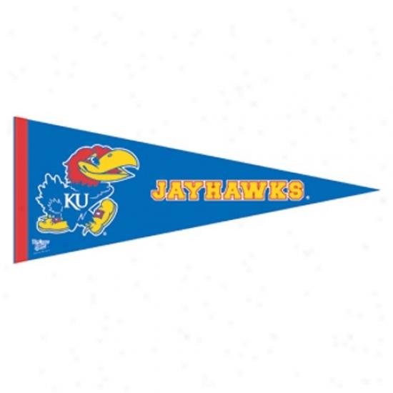 Kansas Jayhawks Royal Blue 12'' X 30'' Premium Felt Pennant