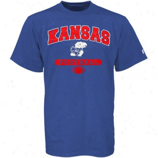 Kansas Jayhawks Shirt : Russell Kansas Jayhawks Royak lBie Football Shift