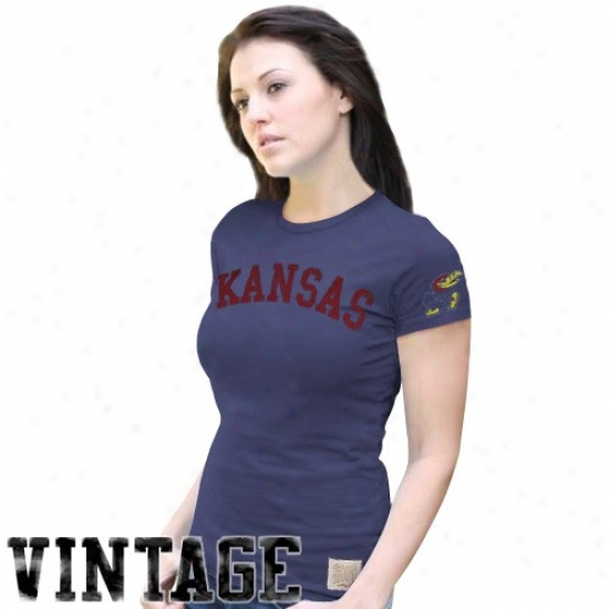 Kansas Jayhawks Shirts : Original Retro Brand Kansas Jayhawks Ladies Royal Blue Two Hit Crew Premium Shirts