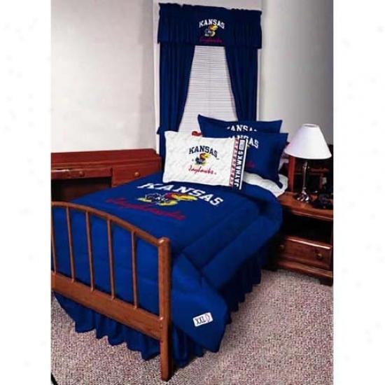 Kansas Jayhawkz Twin Size Bed Skirt