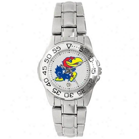Kansas Jayhawks Watches : Kansas Jayhawks Ladies Gameday Sport Watches W/stainless Steel Band