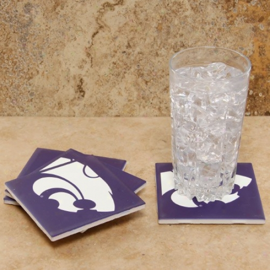 Kansas State Wildcats 4-pack Sublimated Logo Ceramic Cosster Set
