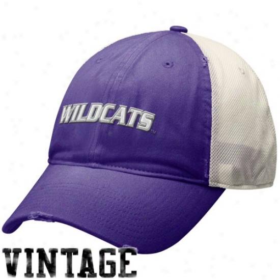 Kansas Commonwealth Wildcats Caps : Nike Kansas State Wildcats Purple Inheritance 86 Mesh Swoosh Flex Caps