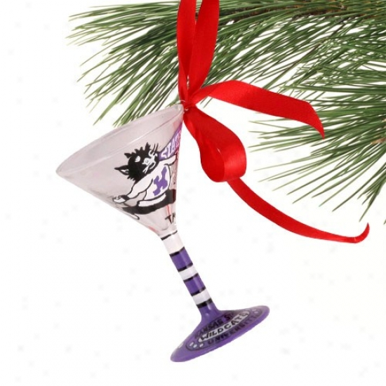 Kansas State Wildcats Hand-painted Mini Martini Glass Christmas Ornament