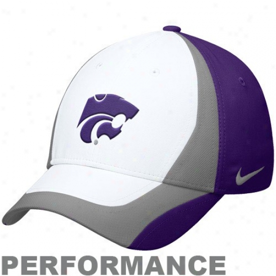Kansas State Wildcats Hats : Nike Kansas State Wildcats Purple-gray Legacy 91 Players Performance Swoosh Flex Hats
