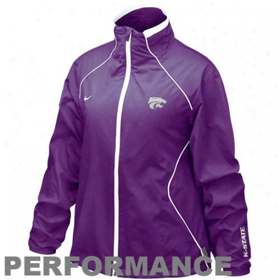 Kansas State Wildcats Jackets : Nike Kansas State Wildcats Ladieq Purple Run Blitz Full Zip Performance Jackets