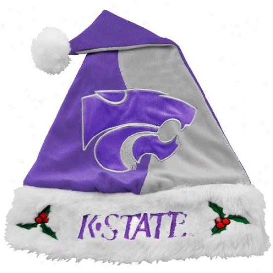 Kansas State Wildcats Purple-gray Mistletoe Santa Hat