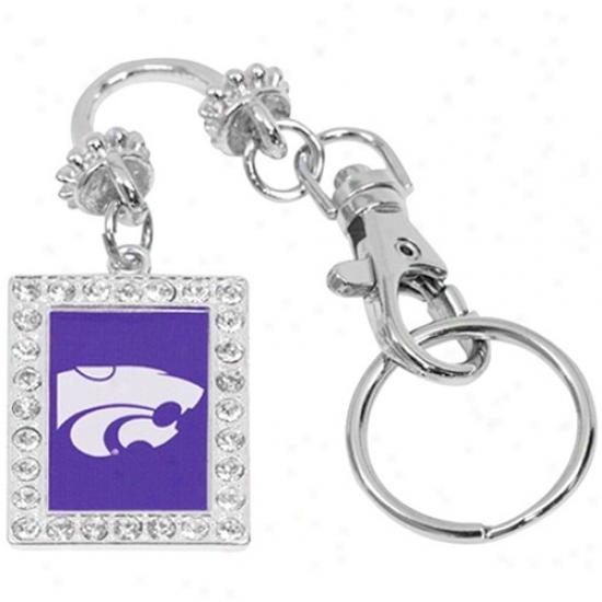 Kansas State Wildcats Rhinestone Sklvertone Key Finder Keychain