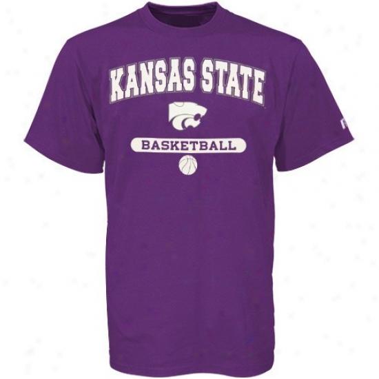 Kansas State Wildcats T Shirt : Russell Kansas State Wildcats Purple Basketball T Shirt