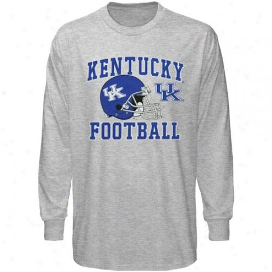 Kentucky Wildcats Attire: Kentucky Wildcats Youth Ash Football Booster Long Sleeve T-shirt