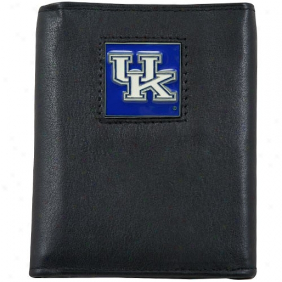 Kentucky Wildcats Black Tri-fold Leathet Executive Wallet