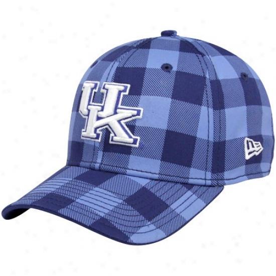 Kenyuck yWildcats Caps : New Era Kentucky Wildcatd Navy Blue-light Blue Plaid B-lo 39thirty Course Fit Caps
