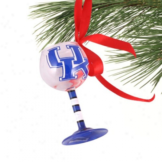 Kentucky Wildcats Hand-painted Mini Wine Glass Christmas Ornament