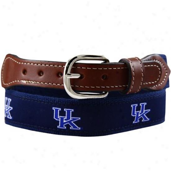Kentucky Wildcats Navy Blue Team Logo Webbed Ribbon Belt