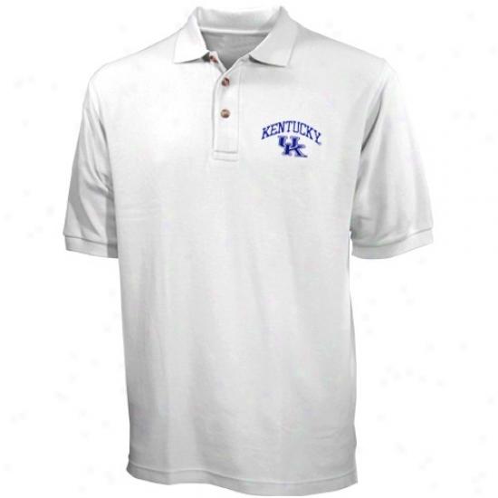 Kentucky Wildcats Polo : Kentucky Wildcats White Pique Polo
