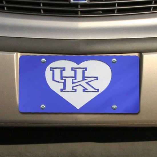 Kentucky Wildcats Royal Blue Mirrored Headt Permission Plate