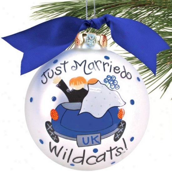 Kentucky Wildcats Silver Just Married Christmas Ornament