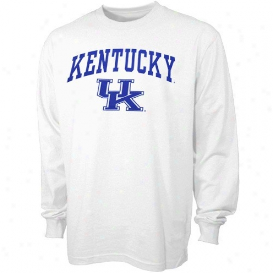Kentucky Wildcats Tshirt : Kentucky Wildcats White Ykuth Bare Essentials Long Sleeve Tshirt