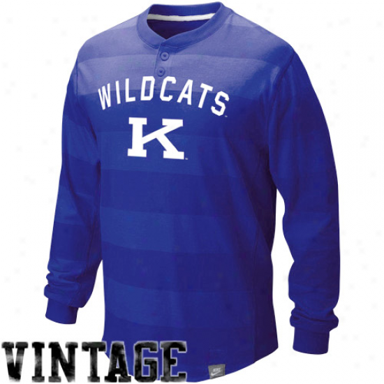 Kentucky Wildcats Tshirt : Nike Kentucky Wildcats Royal Blue College Vault Vintage Long Sleeve Henley Tsnirt