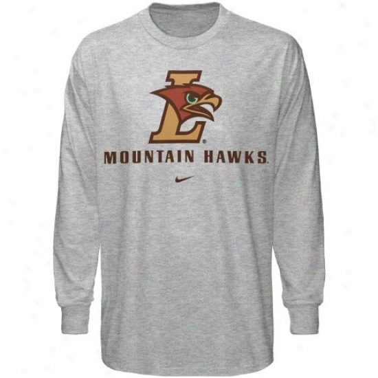 Lehigh Mountain Hawks Tshirts : Nike Lehigh Mountain Hawks Ash Basic Logo Long Sleeve Tshirts